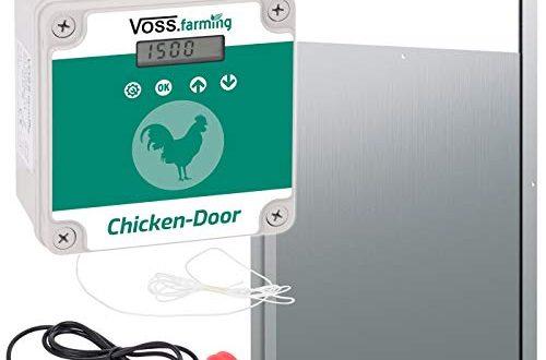 VOSSfarming Set Chicken Door automatische Huehnertuer Alu Huehnerklappe 300 x 500x330 - VOSS.farming Set Chicken-Door automatische Hühnertür + Alu Hühnerklappe 300 x 400mm, Türöffnung, Türöffner für Hühnerstall, Hühnerpförtner für Hühnerhaus, mit Lichtsensor